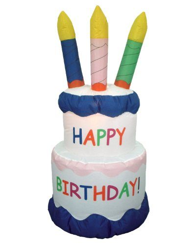 6 Foot Inflatable Happy Birthday Cake With Candles Yard