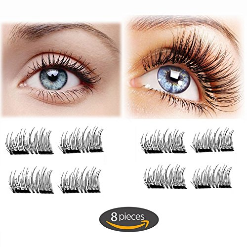 48c67da2f4d Magnet Eyelashes-Dual Magnetic False Eyelashes Cover Half Eyes with  Reusable No Glue 2 pair 8 pieces Lightweight 100% Handmade Eyelashes  Extension for ...